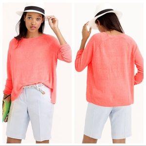 J.Crew Neon Coral Pink 100% Linen Swing Top sz XS